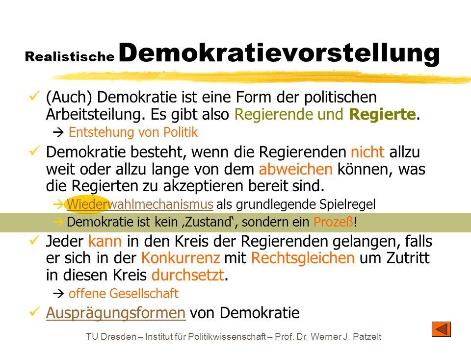 TU Dresden – Institut für Politikwissenschaft – Prof. Dr. Werner J. Patzelt Realistische Demokratievorstellung (Auch) Demokratie ist eine Form der pol