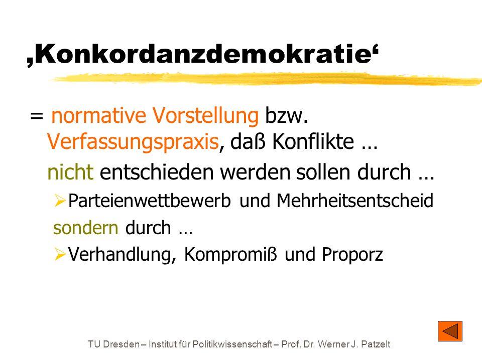 TU Dresden – Institut für Politikwissenschaft – Prof. Dr. Werner J. Patzelt Konkordanzdemokratie = normative Vorstellung bzw. Verfassungspraxis, daß K
