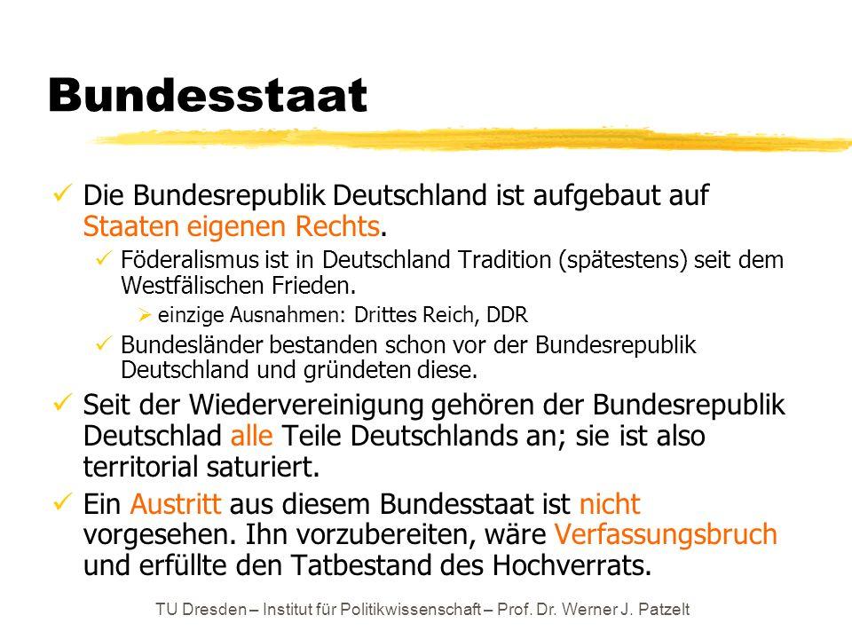 TU Dresden – Institut für Politikwissenschaft – Prof. Dr. Werner J. Patzelt Bundesstaat Die Bundesrepublik Deutschland ist aufgebaut auf Staaten eigen