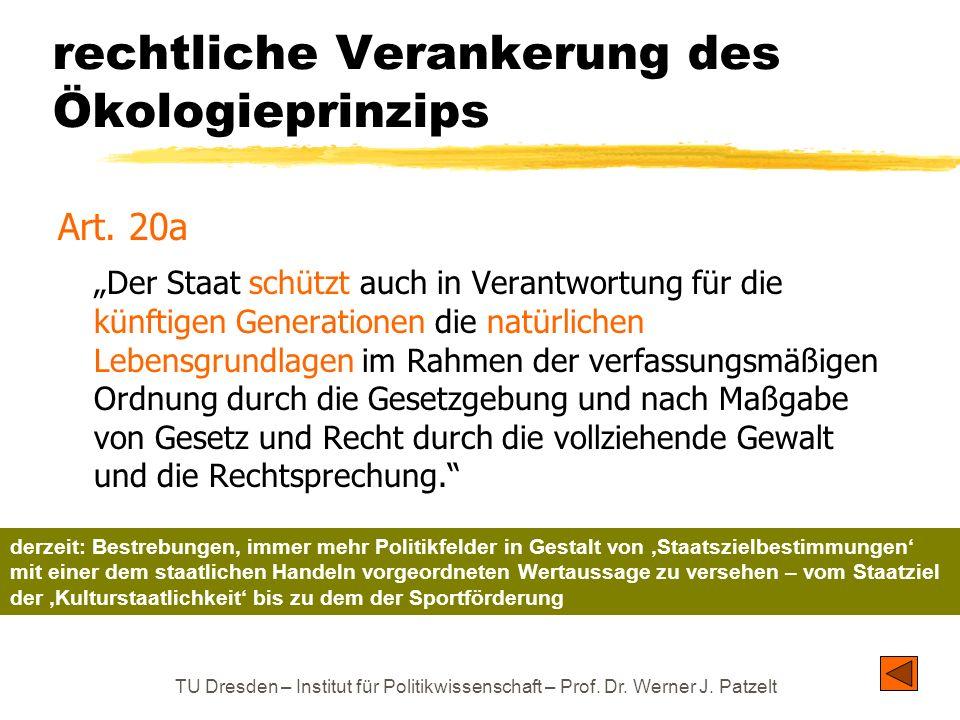 TU Dresden – Institut für Politikwissenschaft – Prof. Dr. Werner J. Patzelt rechtliche Verankerung des Ökologieprinzips Art. 20a Der Staat schützt auc