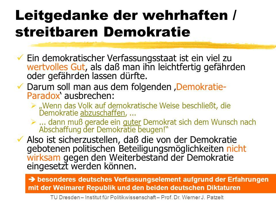 TU Dresden – Institut für Politikwissenschaft – Prof. Dr. Werner J. Patzelt Leitgedanke der wehrhaften / streitbaren Demokratie Ein demokratischer Ver
