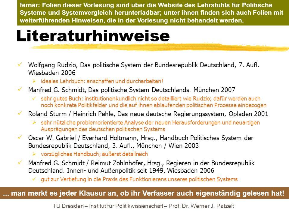 TU Dresden – Institut für Politikwissenschaft – Prof. Dr. Werner J. Patzelt Literaturhinweise Wolfgang Rudzio, Das politische System der Bundesrepubli
