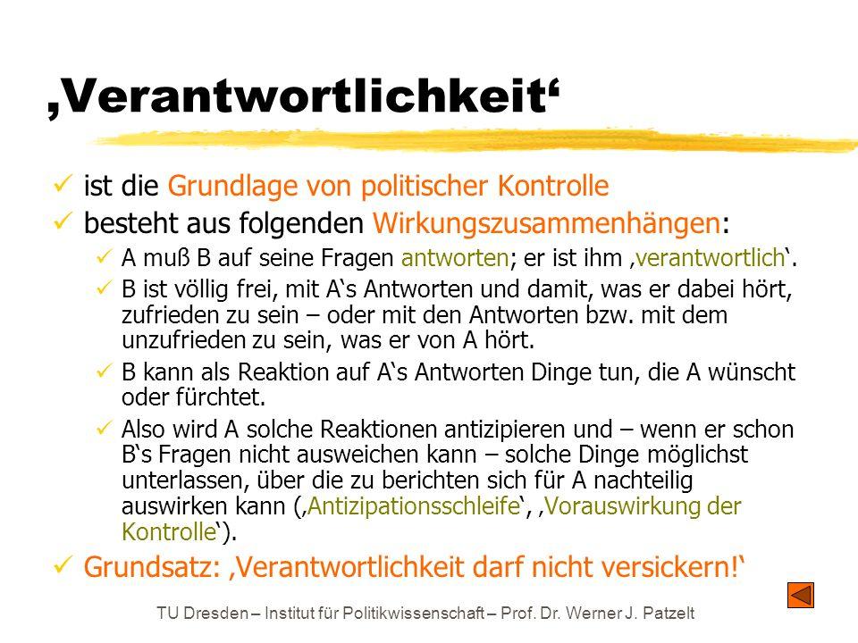 TU Dresden – Institut für Politikwissenschaft – Prof. Dr. Werner J. Patzelt Verantwortlichkeit ist die Grundlage von politischer Kontrolle besteht aus