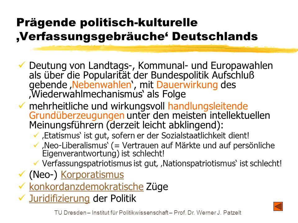 TU Dresden – Institut für Politikwissenschaft – Prof. Dr. Werner J. Patzelt Prägende politisch-kulturelle Verfassungsgebräuche Deutschlands Deutung vo