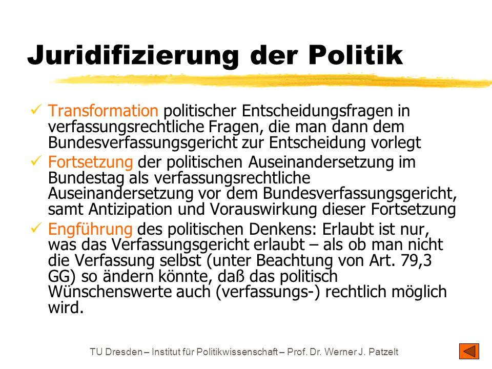 TU Dresden – Institut für Politikwissenschaft – Prof. Dr. Werner J. Patzelt Juridifizierung der Politik Transformation politischer Entscheidungsfragen