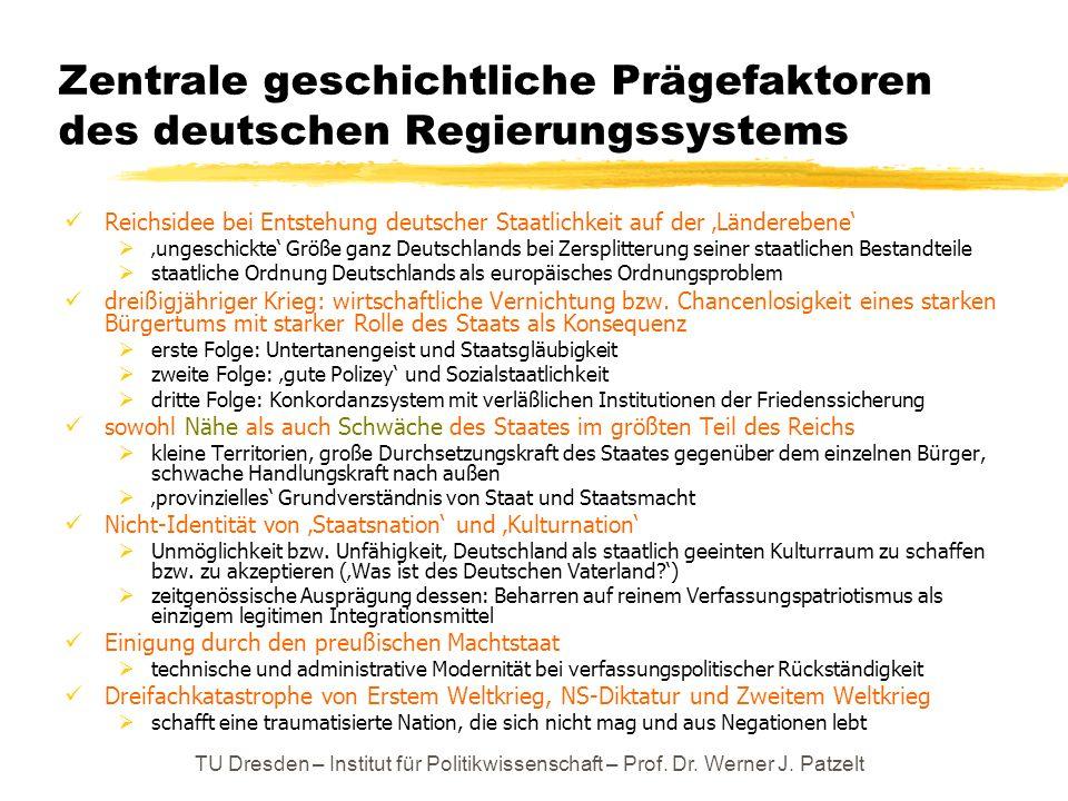 TU Dresden – Institut für Politikwissenschaft – Prof. Dr. Werner J. Patzelt Zentrale geschichtliche Prägefaktoren des deutschen Regierungssystems Reic