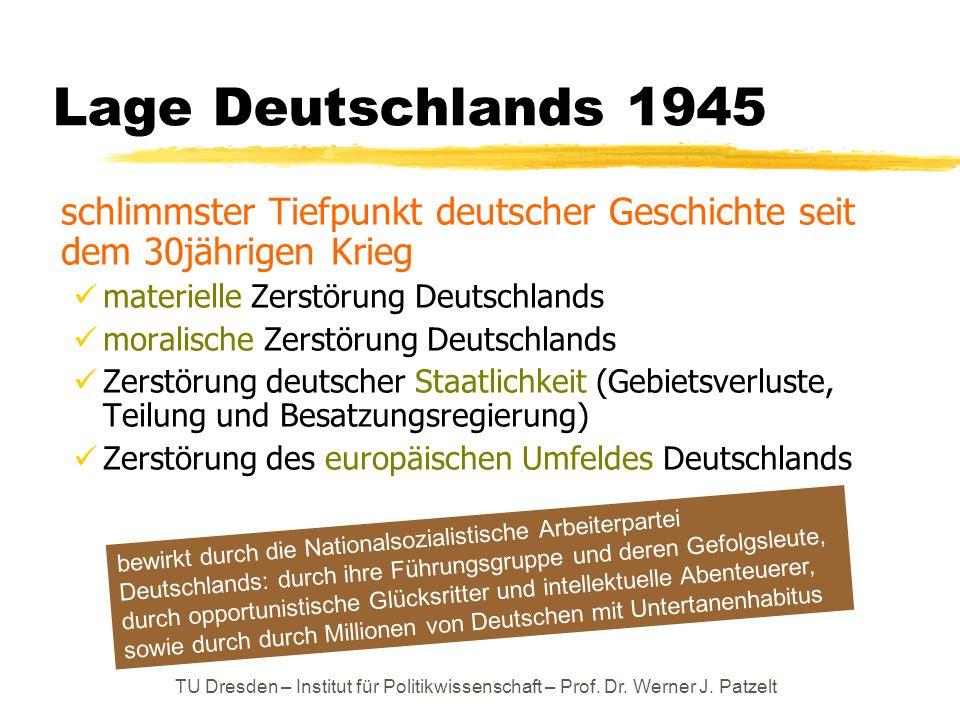 TU Dresden – Institut für Politikwissenschaft – Prof. Dr. Werner J. Patzelt Lage Deutschlands 1945 schlimmster Tiefpunkt deutscher Geschichte seit dem