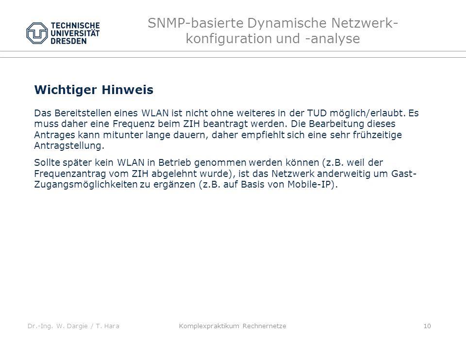 Dr.-Ing. W. Dargie / T. Hara SNMP-basierte Dynamische Netzwerk- konfiguration und -analyse Komplexpraktikum Rechnernetze 10 Wichtiger Hinweis Das Bere