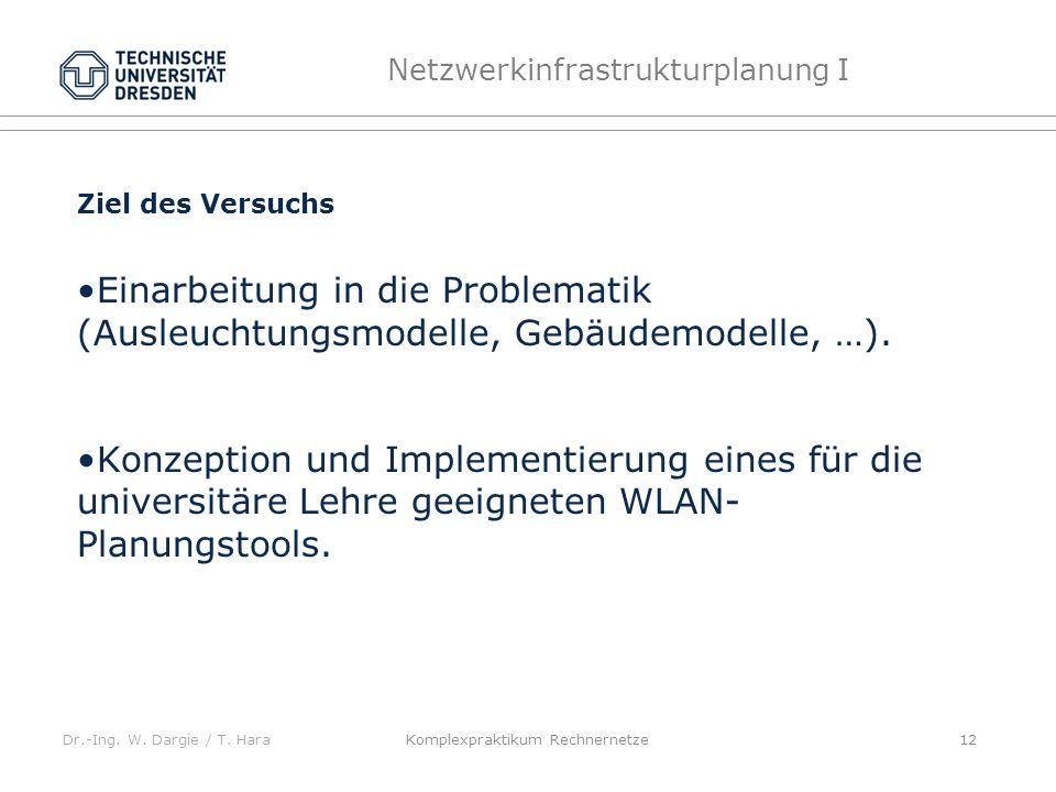 Dr.-Ing. W. Dargie / T. Hara Netzwerkinfrastrukturplanung I Komplexpraktikum Rechnernetze 12 Ziel des Versuchs Einarbeitung in die Problematik (Ausleu