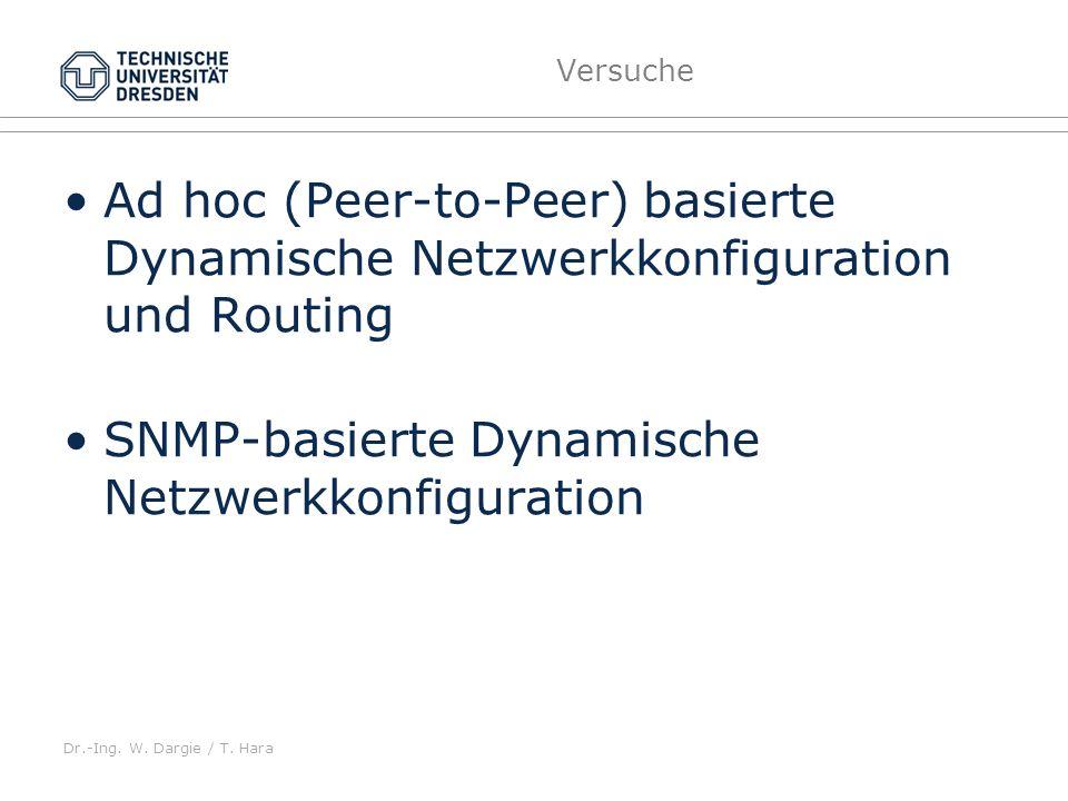 Dr.-Ing. W. Dargie / T. Hara Versuche Ad hoc (Peer-to-Peer) basierte Dynamische Netzwerkkonfiguration und Routing SNMP-basierte Dynamische Netzwerkkon