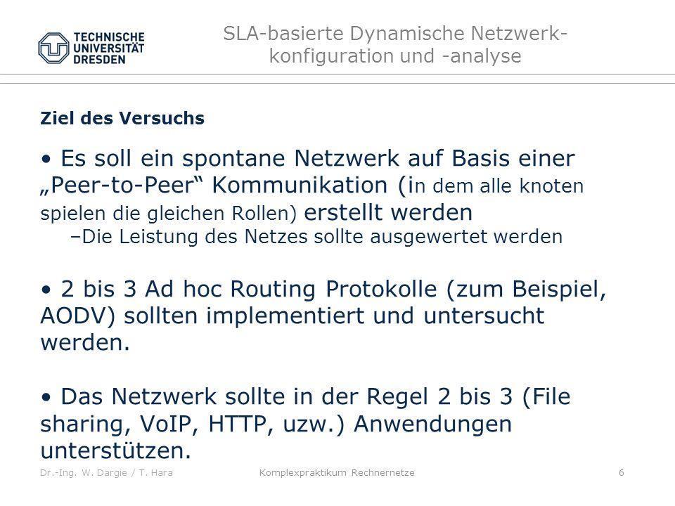 Dr.-Ing. W. Dargie / T. Hara SLA-basierte Dynamische Netzwerk- konfiguration und -analyse Ziel des Versuchs Es soll ein spontane Netzwerk auf Basis ei