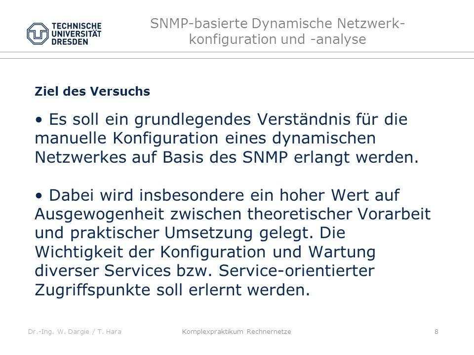 Dr.-Ing. W. Dargie / T. Hara SNMP-basierte Dynamische Netzwerk- konfiguration und -analyse Komplexpraktikum Rechnernetze 8 Ziel des Versuchs Es soll e