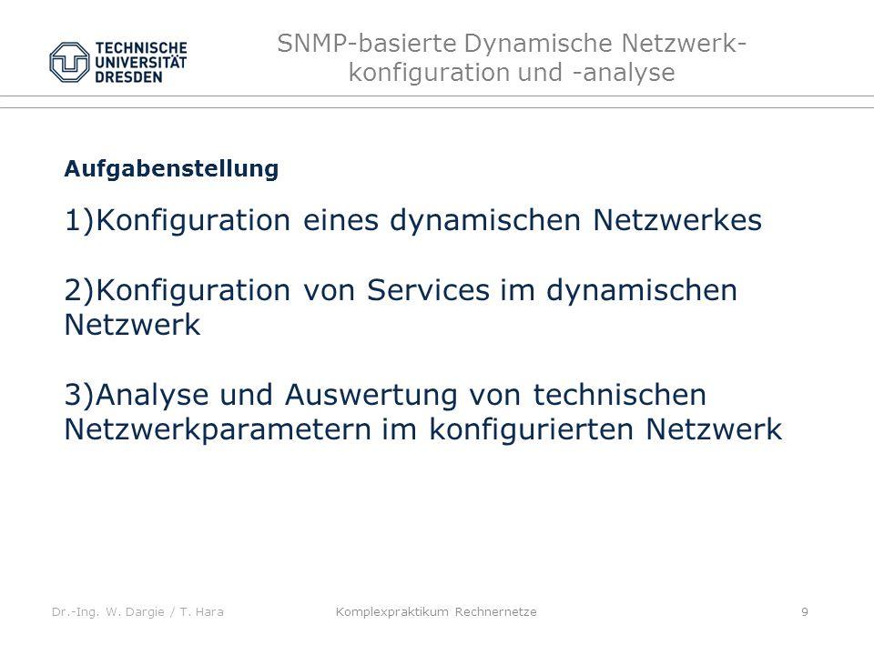 Dr.-Ing. W. Dargie / T. Hara SNMP-basierte Dynamische Netzwerk- konfiguration und -analyse Komplexpraktikum Rechnernetze 9 Aufgabenstellung 1)Konfigur
