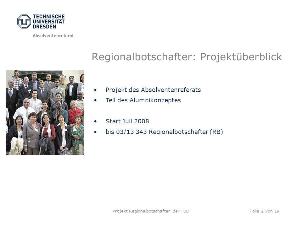 Projekt Regionalbotschafter der TUDFolie 2 von 19 Regionalbotschafter: Projektüberblick Projekt des Absolventenreferats Teil des Alumnikonzeptes Start Juli 2008 bis 03/13 343 Regionalbotschafter (RB)