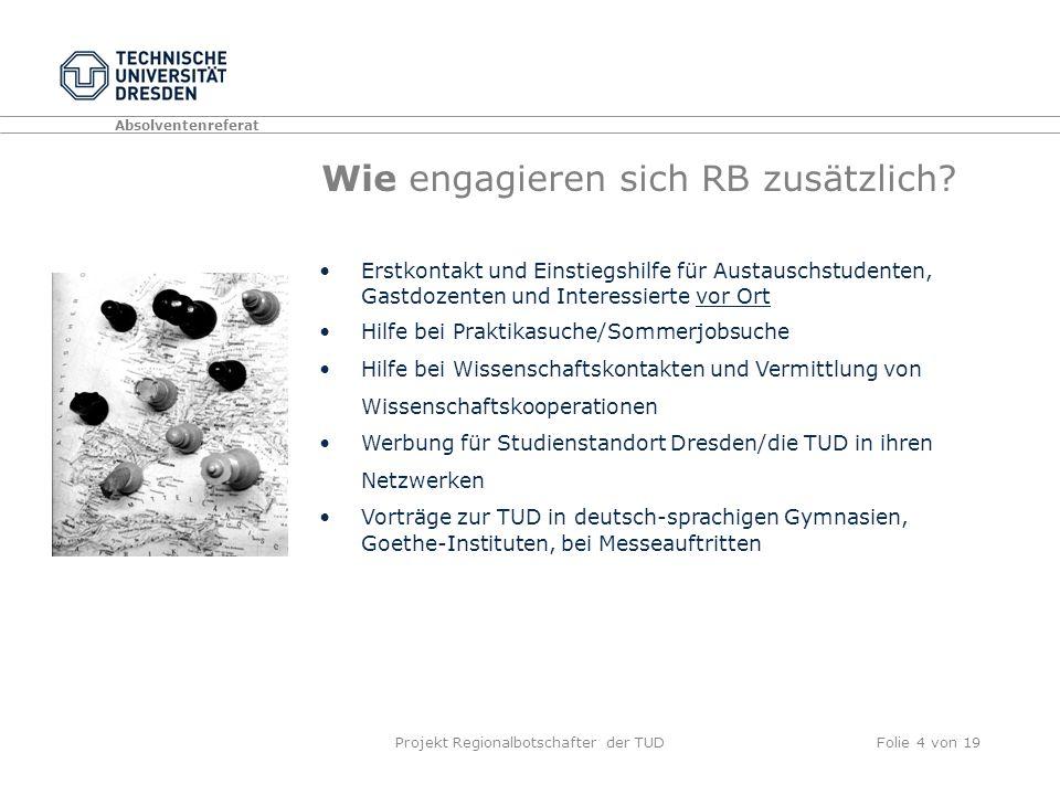 Absolventenreferat Projekt Regionalbotschafter der TUDFolie 4 von 19 Wie engagieren sich RB zusätzlich.