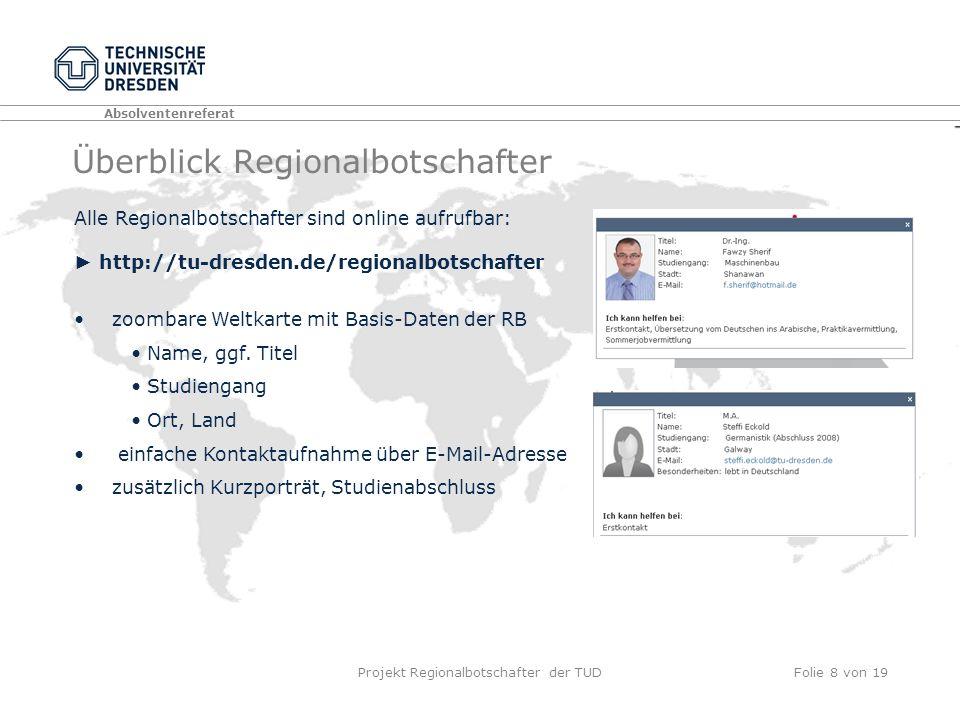 Absolventenreferat Projekt Regionalbotschafter der TUDFolie 8 von 19 Überblick Regionalbotschafter zoombare Weltkarte mit Basis-Daten der RB Name, ggf.