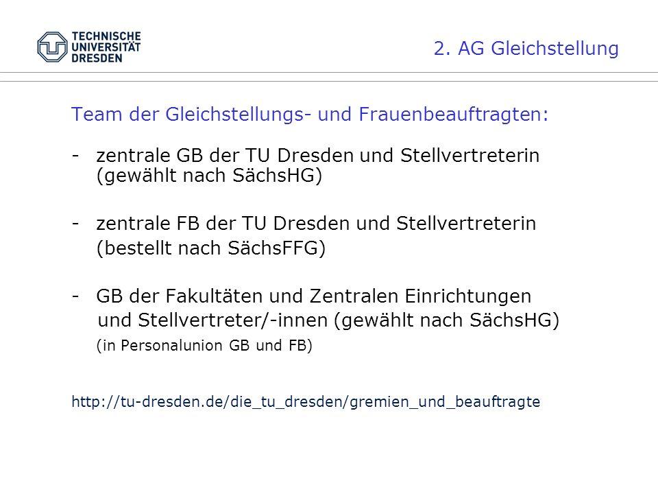 2. AG Gleichstellung Team der Gleichstellungs- und Frauenbeauftragten: -zentrale GB der TU Dresden und Stellvertreterin (gewählt nach SächsHG) - zentr