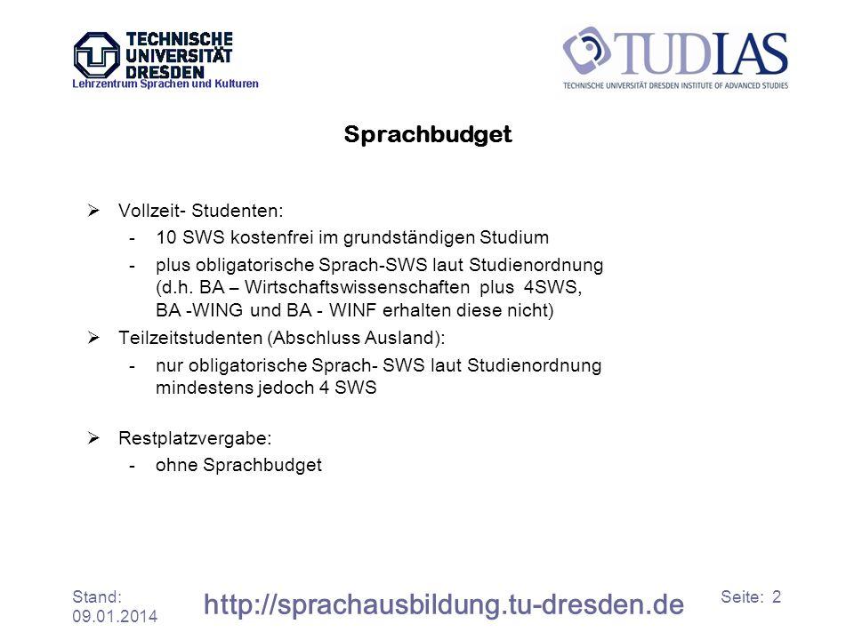 Stand: 09.01.2014 http://sprachausbildung.tu-dresden.de Seite: 2 Sprachbudget Vollzeit- Studenten: -10 SWS kostenfrei im grundständigen Studium -plus