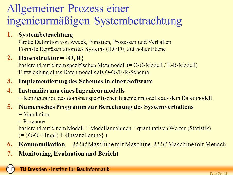 TU Dresden - Institut für Bauinformatik Folie-Nr.: 15 Allgemeiner Prozess einer ingenieurmäßigen Systembetrachtung 1. Systembetrachtung Grobe Definiti