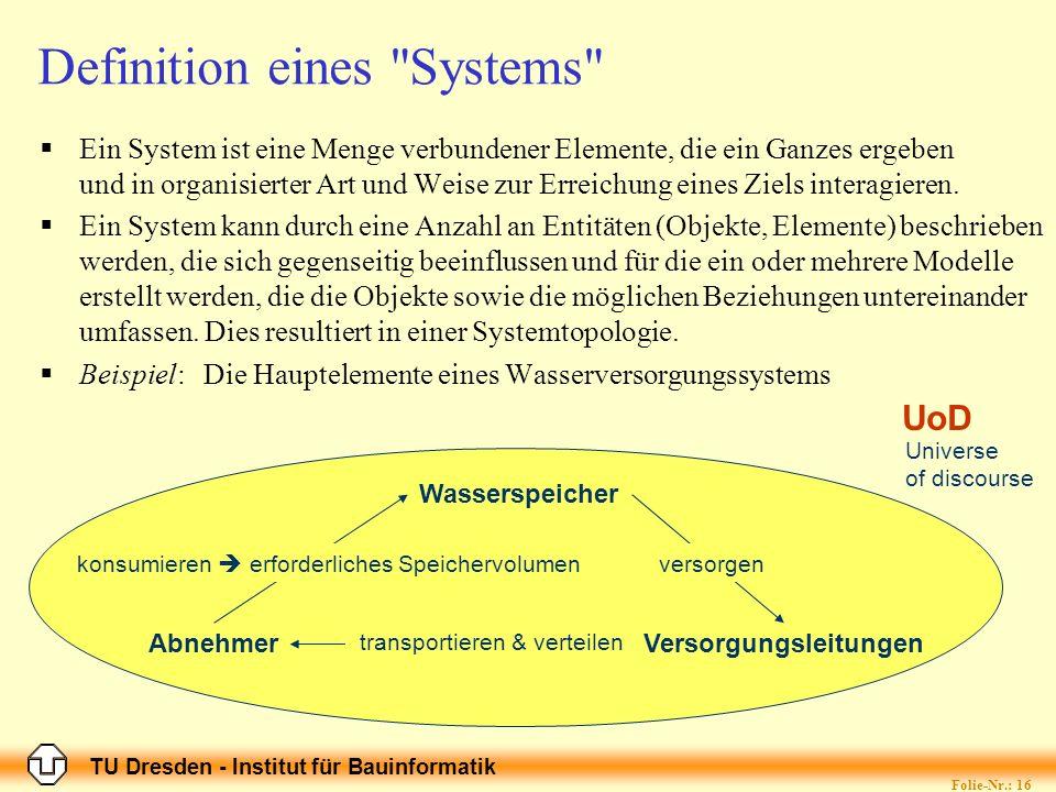TU Dresden - Institut für Bauinformatik Folie-Nr.: 16 Definition eines