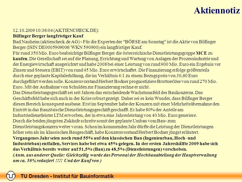 TU Dresden - Institut für Bauinformatik 12.10.2009 10:36:04 (AKTIENCHECK.DE): Bilfinger Berger langfristiger Kauf Bad Nauheim (aktiencheck.de AG) - Fü
