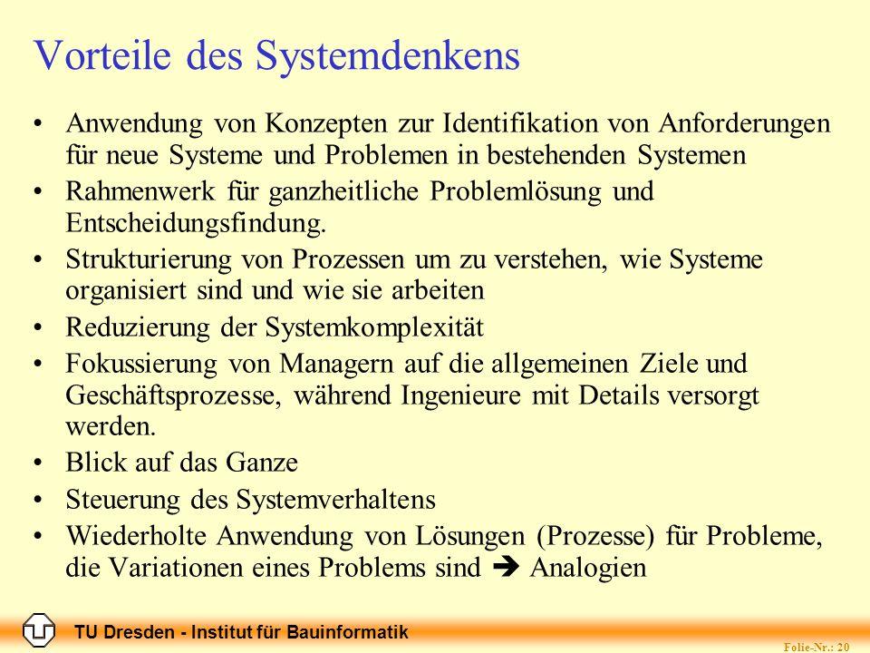 TU Dresden - Institut für Bauinformatik Folie-Nr.: 20 Vorteile des Systemdenkens Anwendung von Konzepten zur Identifikation von Anforderungen für neue