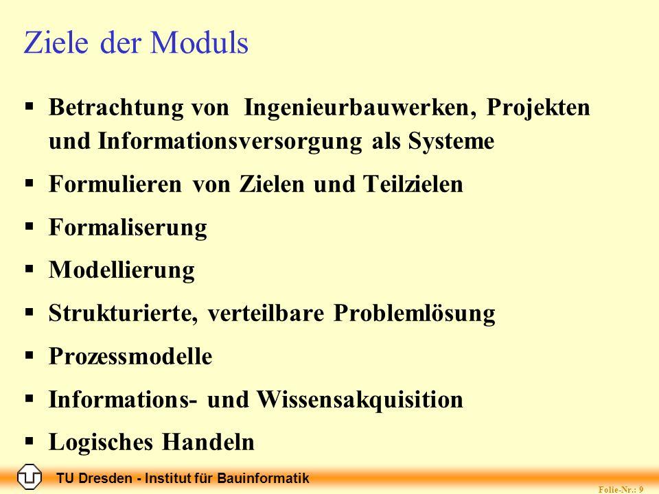 TU Dresden - Institut für Bauinformatik Folie-Nr.: 9 Ziele der Moduls Betrachtung von Ingenieurbauwerken, Projekten und Informationsversorgung als Sys