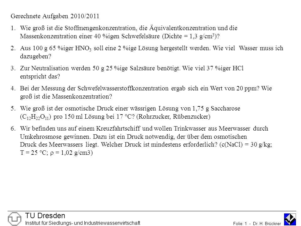 TU Dresden Institut für Siedlungs- und Industriewasserwirtschaft Folie: 1 - Dr.