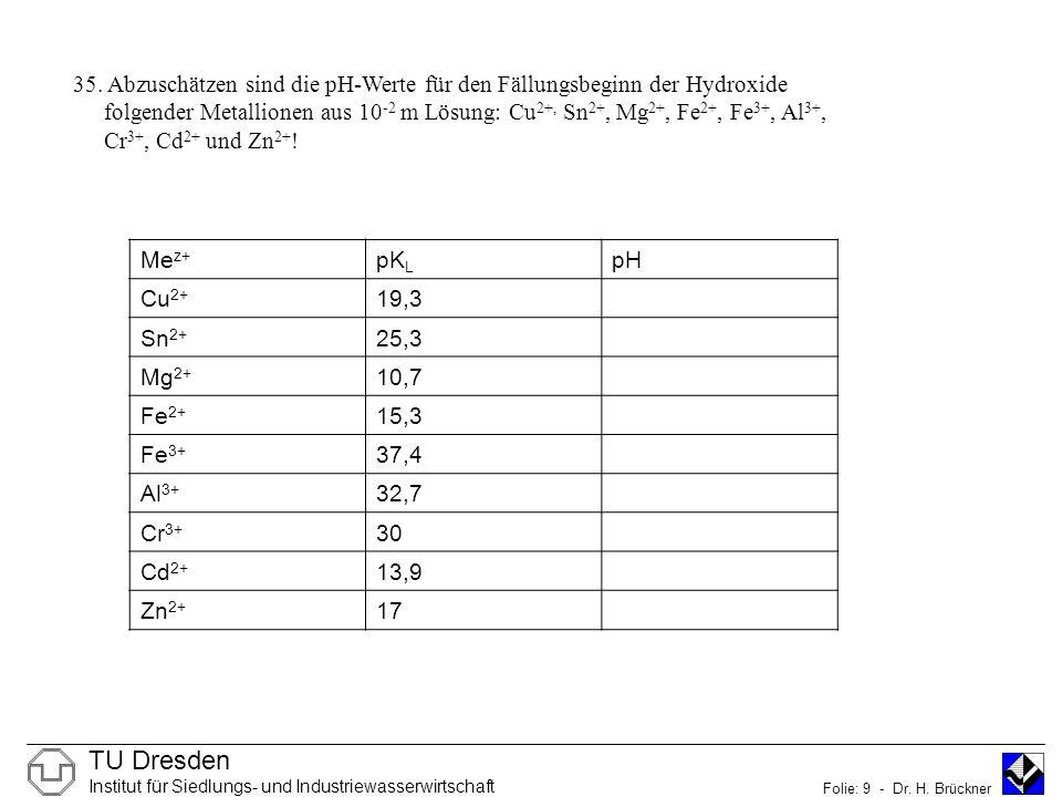TU Dresden Institut für Siedlungs- und Industriewasserwirtschaft Folie: 9 - Dr.