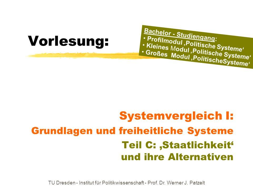 TU Dresden - Institut für Politikwissenschaft - Prof. Dr. Werner J. Patzelt Vorlesung: Systemvergleich I: Grundlagen und freiheitliche Systeme Teil C: