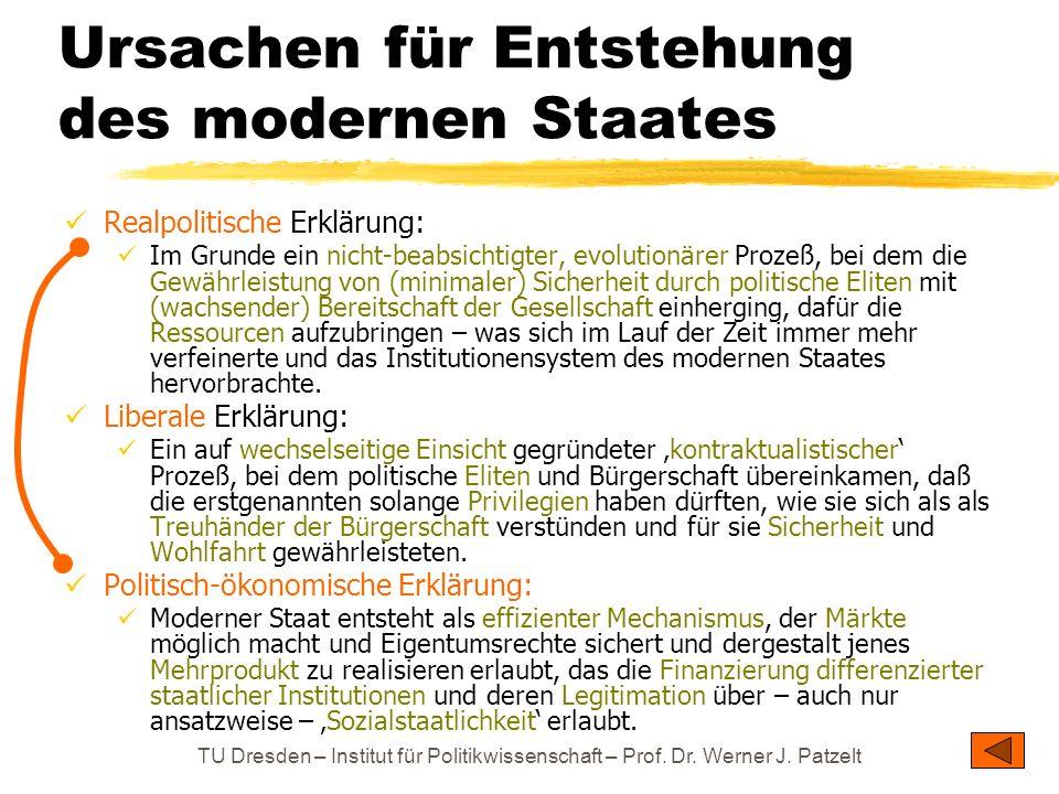 TU Dresden – Institut für Politikwissenschaft – Prof. Dr. Werner J. Patzelt Ursachen für Entstehung des modernen Staates Realpolitische Erklärung: Im