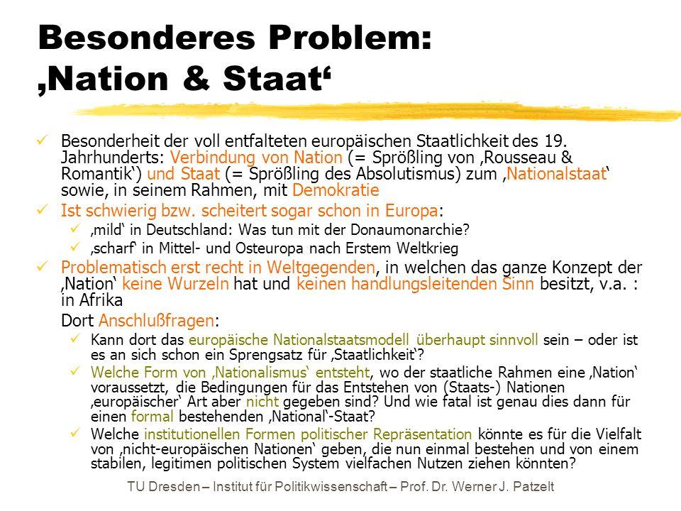 TU Dresden – Institut für Politikwissenschaft – Prof. Dr. Werner J. Patzelt Besonderes Problem: Nation & Staat Besonderheit der voll entfalteten europ