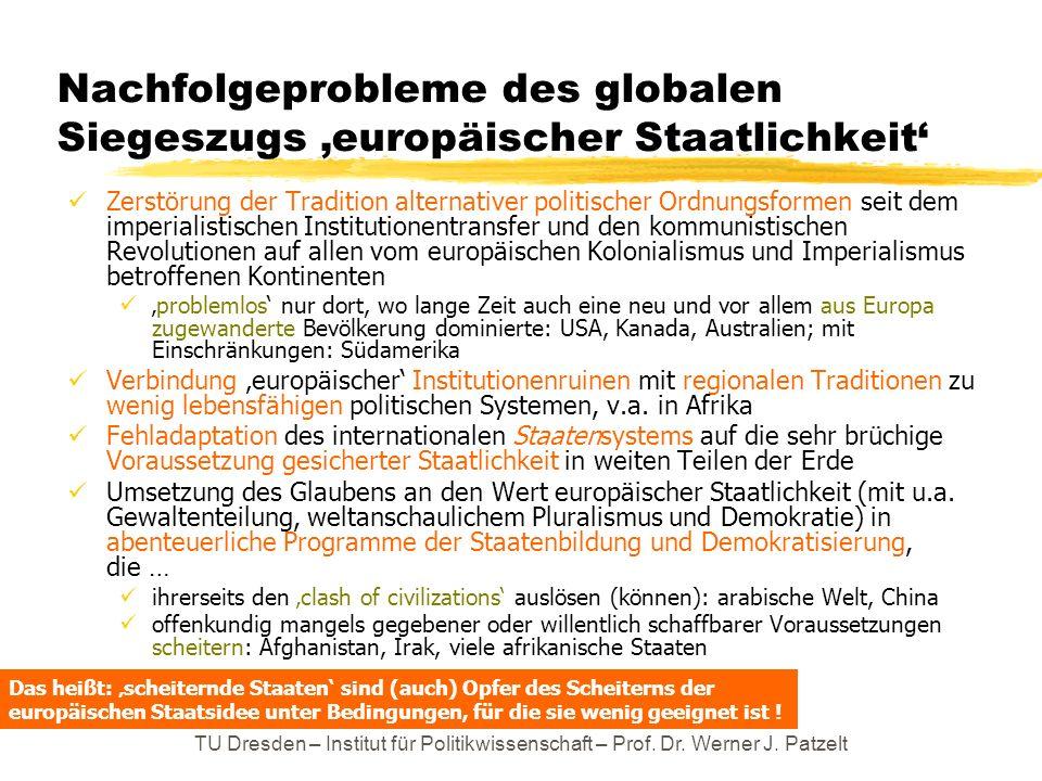 TU Dresden – Institut für Politikwissenschaft – Prof. Dr. Werner J. Patzelt Nachfolgeprobleme des globalen Siegeszugs europäischer Staatlichkeit Zerst