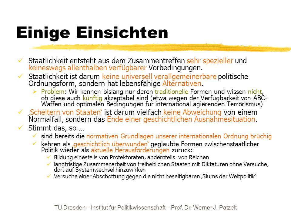 TU Dresden – Institut für Politikwissenschaft – Prof. Dr. Werner J. Patzelt Einige Einsichten Staatlichkeit entsteht aus dem Zusammentreffen sehr spez