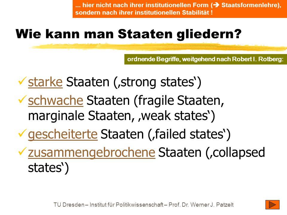 TU Dresden – Institut für Politikwissenschaft – Prof. Dr. Werner J. Patzelt Wie kann man Staaten gliedern? starke Staaten (strong states) starke schwa