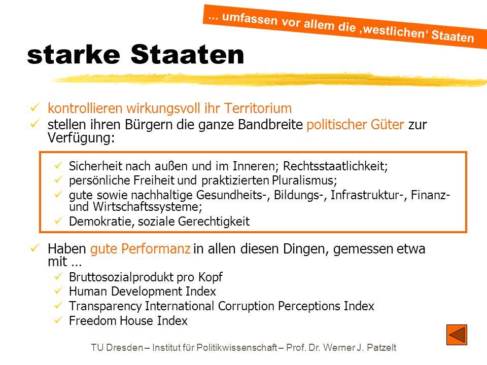 TU Dresden – Institut für Politikwissenschaft – Prof. Dr. Werner J. Patzelt starke Staaten kontrollieren wirkungsvoll ihr Territorium stellen ihren Bü