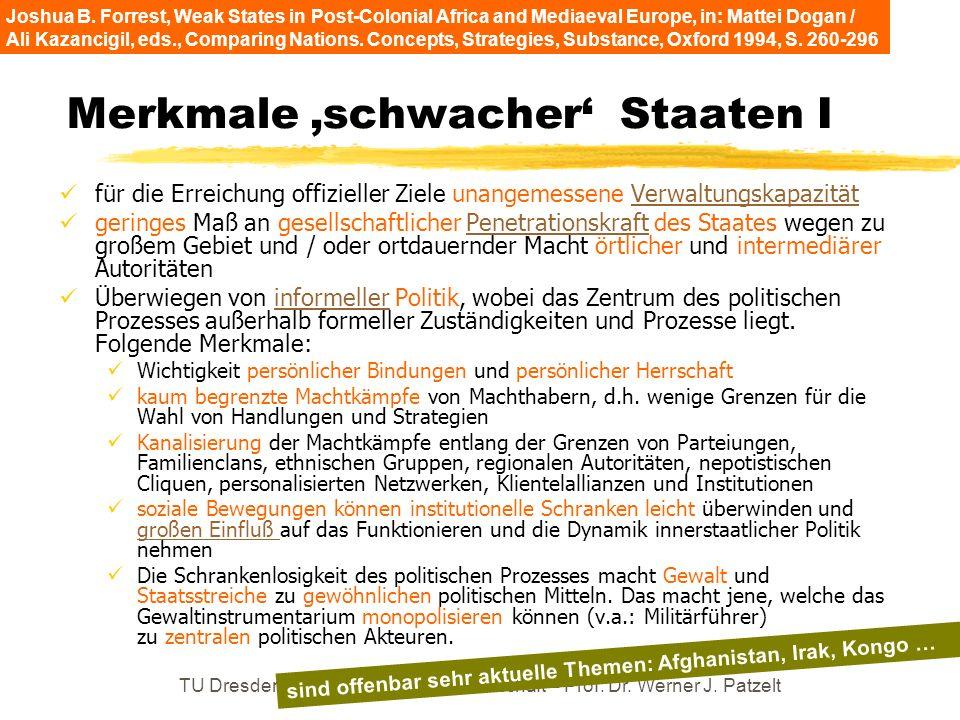 TU Dresden – Institut für Politikwissenschaft – Prof. Dr. Werner J. Patzelt Merkmale schwacher Staaten I für die Erreichung offizieller Ziele unangeme