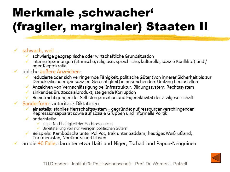 TU Dresden – Institut für Politikwissenschaft – Prof. Dr. Werner J. Patzelt Merkmale schwacher (fragiler, marginaler) Staaten II schwach, weil … schwi
