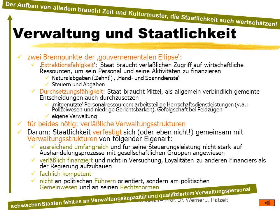 TU Dresden – Institut für Politikwissenschaft – Prof. Dr. Werner J. Patzelt Verwaltung und Staatlichkeit zwei Brennpunkte der gouvernementalen Ellipse