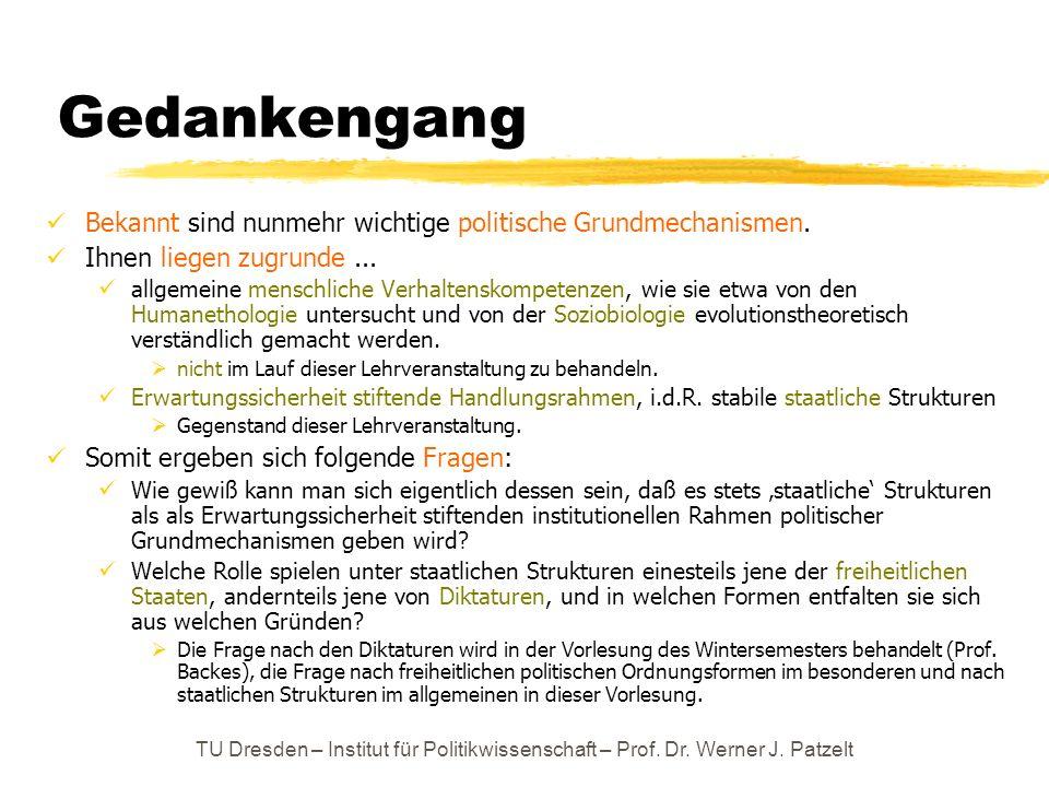TU Dresden – Institut für Politikwissenschaft – Prof. Dr. Werner J. Patzelt Gedankengang Bekannt sind nunmehr wichtige politische Grundmechanismen. Ih