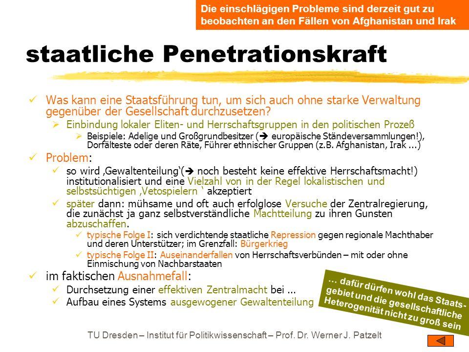 TU Dresden – Institut für Politikwissenschaft – Prof. Dr. Werner J. Patzelt staatliche Penetrationskraft Was kann eine Staatsführung tun, um sich auch