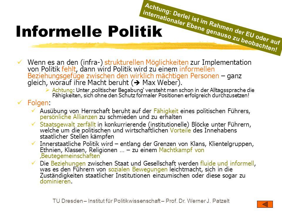 TU Dresden – Institut für Politikwissenschaft – Prof. Dr. Werner J. Patzelt Informelle Politik Wenn es an den (infra-) strukturellen Möglichkeiten zur