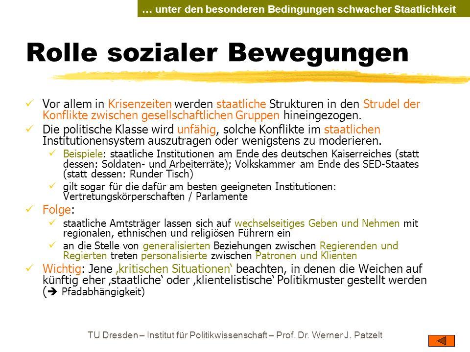 TU Dresden – Institut für Politikwissenschaft – Prof. Dr. Werner J. Patzelt Rolle sozialer Bewegungen Vor allem in Krisenzeiten werden staatliche Stru