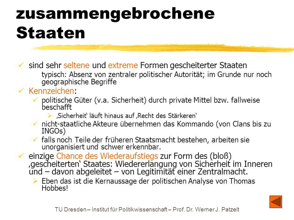 TU Dresden – Institut für Politikwissenschaft – Prof. Dr. Werner J. Patzelt zusammengebrochene Staaten sind sehr seltene und extreme Formen gescheiter