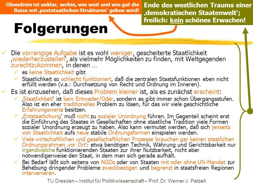 TU Dresden – Institut für Politikwissenschaft – Prof. Dr. Werner J. Patzelt Folgerungen Die vorrangige Aufgabe ist es wohl weniger, gescheiterte Staat