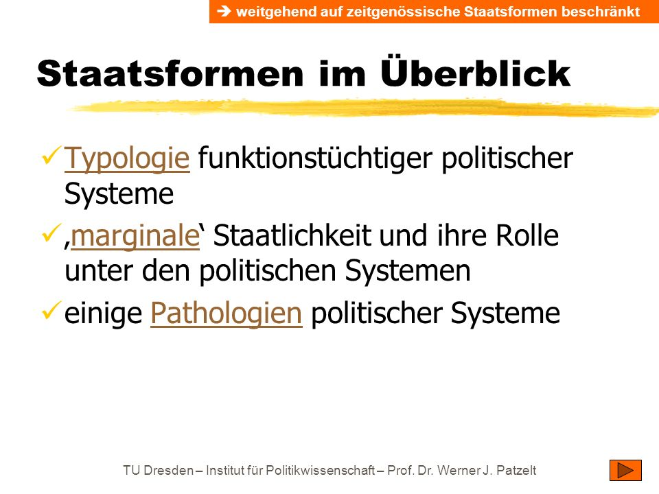 TU Dresden – Institut für Politikwissenschaft – Prof. Dr. Werner J. Patzelt Staatsformen im Überblick Typologie funktionstüchtiger politischer Systeme