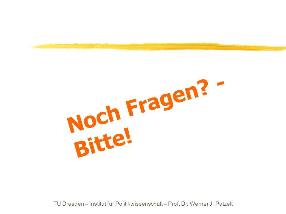 TU Dresden – Institut für Politikwissenschaft – Prof. Dr. Werner J. Patzelt Noch Fragen? - Bitte!