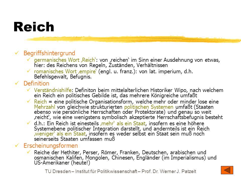 TU Dresden – Institut für Politikwissenschaft – Prof. Dr. Werner J. Patzelt Reich Begriffshintergrund germanisches Wort Reich: von reichen im Sinn ein
