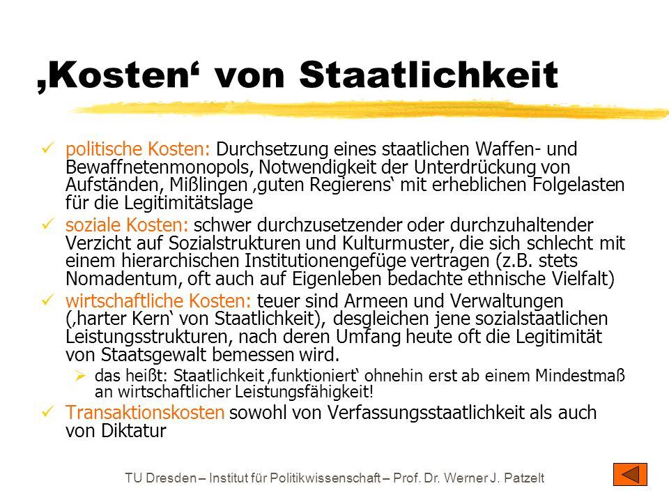 TU Dresden – Institut für Politikwissenschaft – Prof. Dr. Werner J. Patzelt Kosten von Staatlichkeit politische Kosten: Durchsetzung eines staatlichen