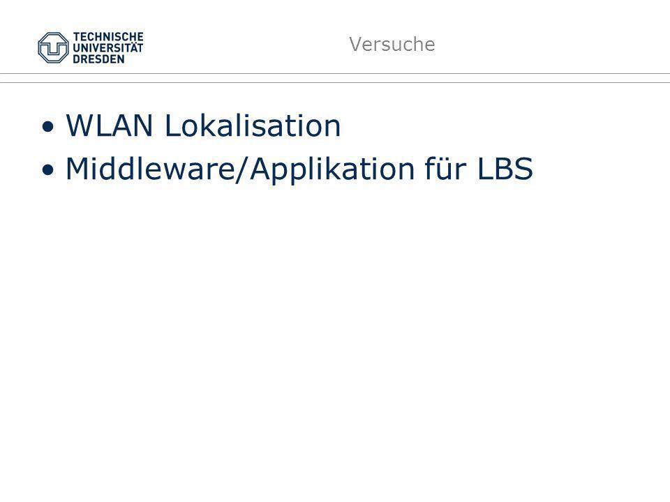 Versuche WLAN Lokalisation Middleware/Applikation für LBS